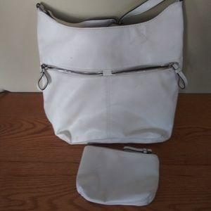 Badic Editions white leather shoulder purse